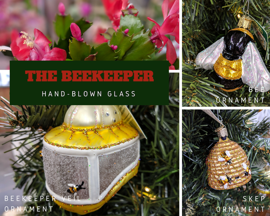 These blown glass ornaments are beautiful, and need to be hanging on every beekeeper's tree.