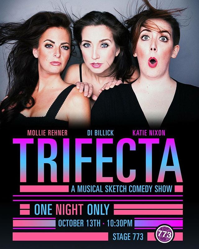 Looking for Friday plans?! 😈TRIFECTA😈 is happening this Friday the 13th at 10:30pm at Stage 773! It's 2/3 Cupids and 100% full blown ridiculously funny musical sketch comedy! Come support Cupid Players @mollie_ugh_rehner and @dibillick! And their BFF @griddlecakekatie