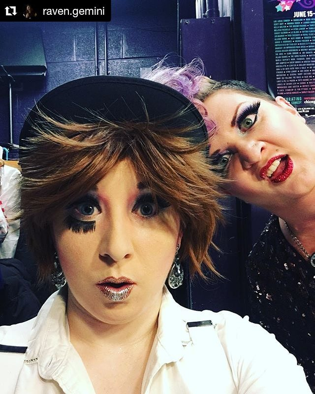 Saturday night!! #Repost @raven.gemini ・・・ Me and @mamadiscochicago at last night's @stage773 @vaudezilla show.  Did you know we do this kind of weird stuff every Saturday? Get yourself a holiday gift and kick back at a burlesque show! #burlesque #chicagoburlesque #midwestburlesque #lakeviewchicago #belmonttheatre #burlyq #buyaticket #backstage #alexdelarge #aclockworkorange #kubrilesque #bowlerhat #littlealex #ultraviolence #milkplus
