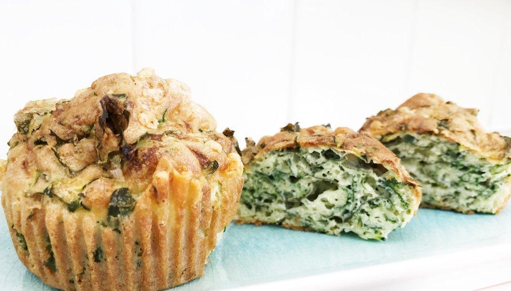 Gluten free zucchini and kale muffins