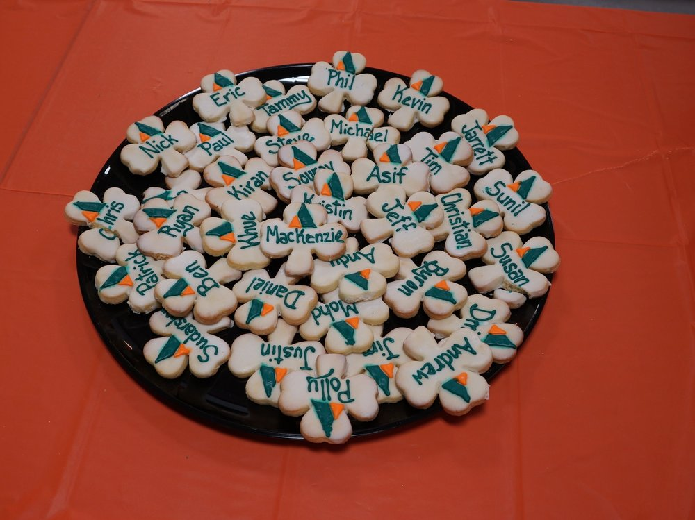 Custom cookies can have the company logo, employee names, or BOTH!