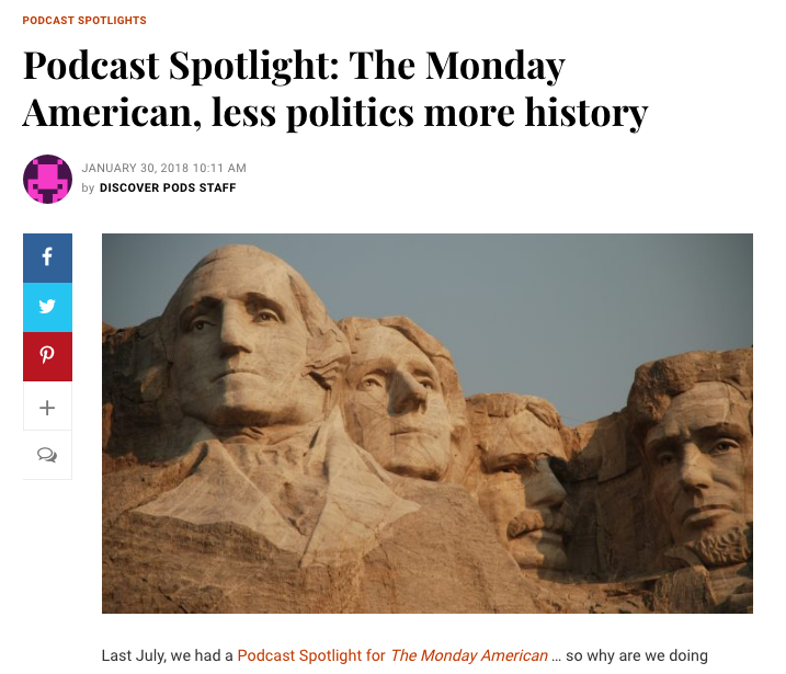 Discover pods Podcast Spotlight   Discoverpods.com  wrote an  article about the podcast  featuring the show and spotlighting it's unique offerings to audiences.