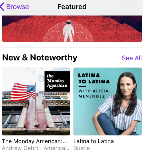 "On 4/23  Apple Podcasts  put  The Monday American  on the front page of the ""featured"" podcasts in its native podcast app which highlights the show for a week."