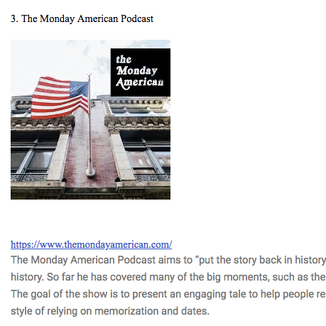 Why is That Podcast's Blog listed  The Monday American  as #3 for the best ten newly released podcasts worth listening to!