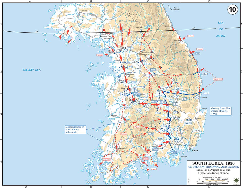 Detailed Map of Initial assault on S. Korea