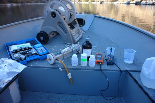 Water quality monitoring equipment, Lake Billy Chinook, 2015. Photo by Greg McMillan.