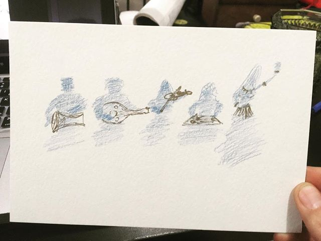 If you are interested in 'origin stories', you may want to check out this blog post by Pedro, the lead drummer with the Blue Dot Ensemble. There, he talks about the idea behind the group, the early concepts (like the sketch in this post), the story so far, and some plans for the future. Link on our bio.