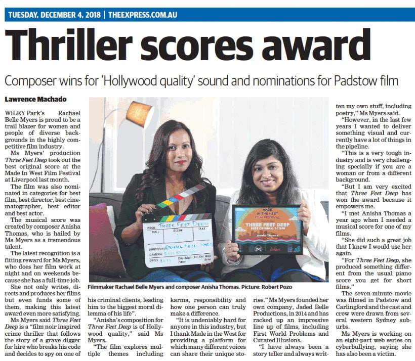 Newspaper Article on Anisha Thomas's Best Original Score Win 2018: Canterbury Express