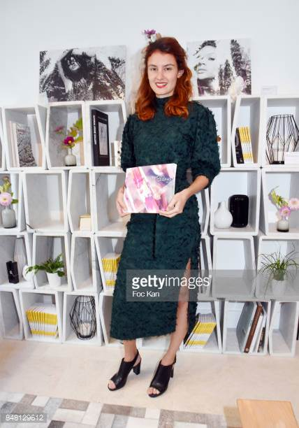 Julia A. Etedi and her prints on marble