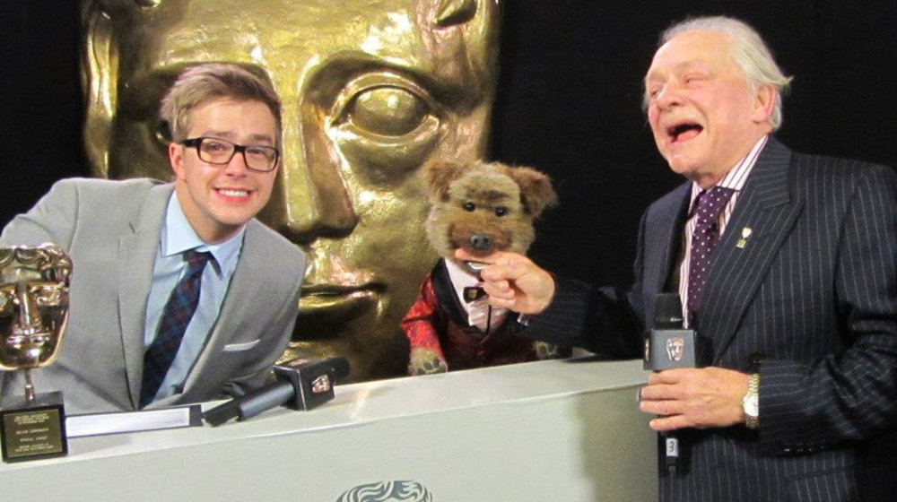 CBBC stars Iain Stirling and Hacker T Dog get David Jason in trouble backstage