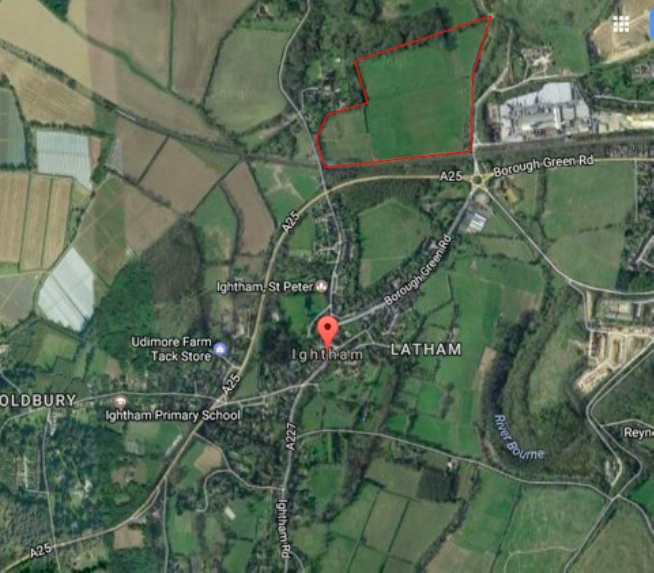 Map of Ightham Village and AONB Fields in question
