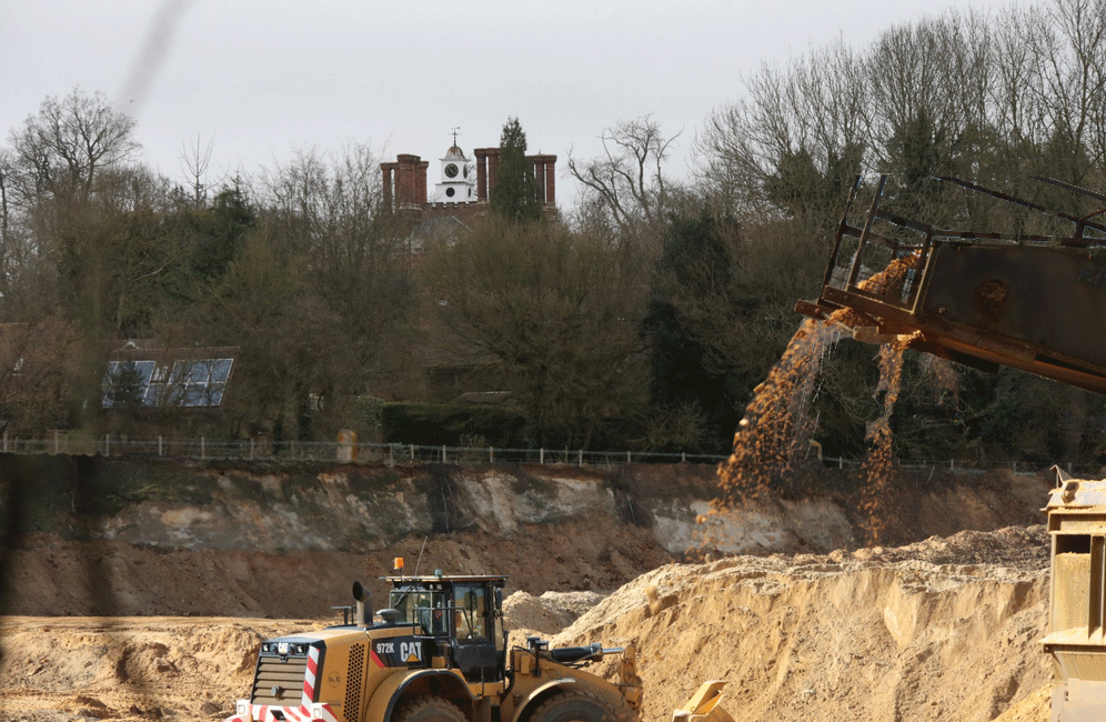 Potential view of converted AONB fields into a silica sand quarry next to Ightham Court