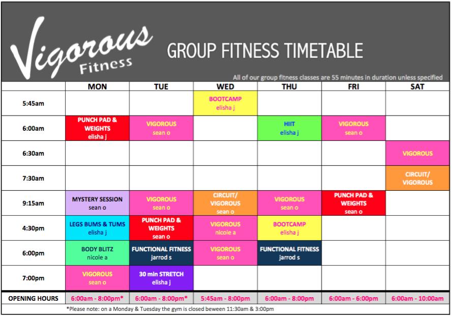 vigorous-fitness-timetable
