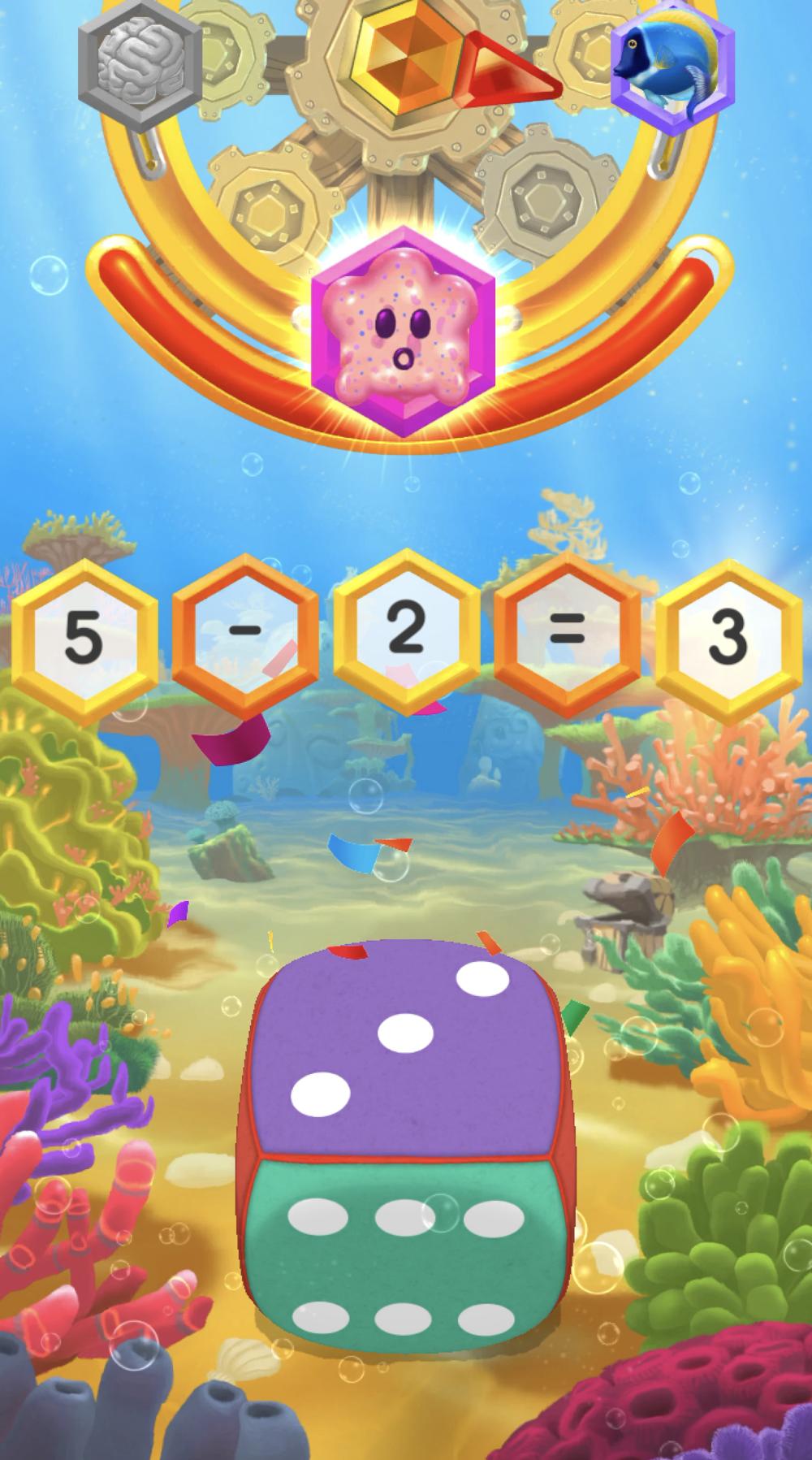 화면에 나타나는 산수 문제를 잘 풀고, 답에 해당하는 숫자의면이 위에 오도록 주사위를 놓아주세요!