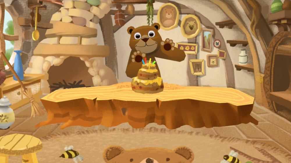 화면 속에서는 곰의 생일파티가 열리고 있습니다.눈, 코, 입 스티커를 붙여 꾸민나만의 스푼 인형을 화면 앞에 꽂아볼까요?