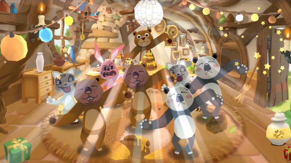 친구들과함께 신나는곰의 생일 댄스파티를즐겨보세요!