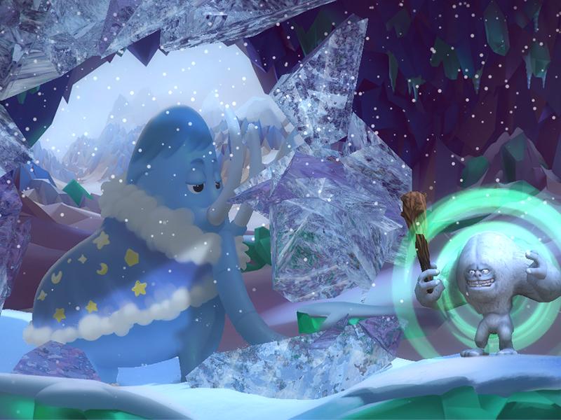 얼음을 다 깨서 갇혀있던 맘모스를 구해주면 게임이끝납니다.