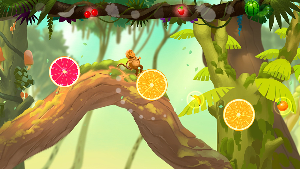 동글동글 돌아가는 과일 사이를 점프하며 앞으로 나아가 보세요! 타이밍을 잘 맞춰 펌프를 힘껏 눌러야 합니다.