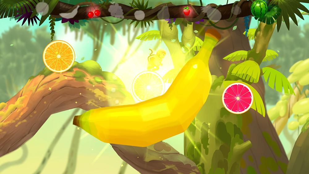 중간 중간에 있는 과일을 먹는 것에 성공하면, 화면 상단의 바에 수집한 과일이 채워집니다.