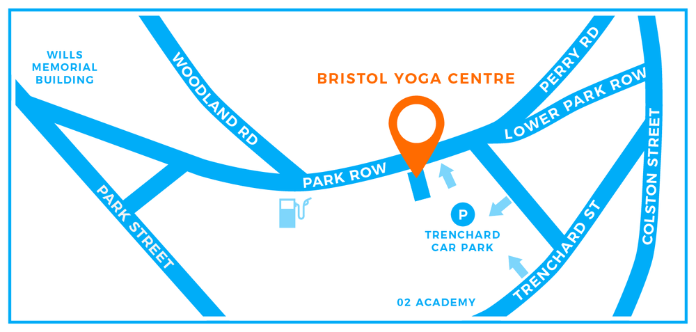 Bristol Yoga Centre, 10 Park Row. Near Park Street in the middle of Bristol. Trenchard car park nearby.