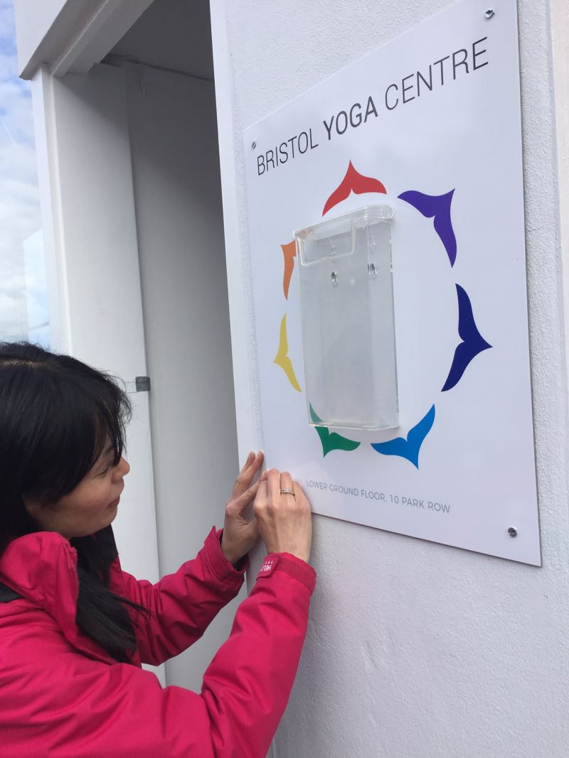 Naomi Hayama putting the finishing touches on Bristol Yoga Centre, 10 Park Row Bristol