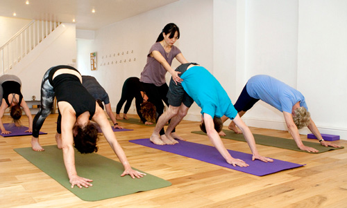 Yoga group class for everyone including beginners.
