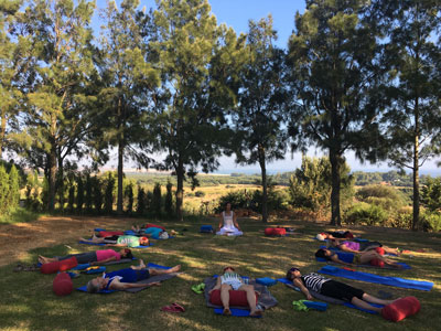 Yoga class at retreat organised by Bristol Yoga Centre
