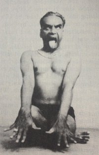 Lion's pose Simbhasana yoga practice