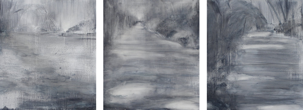 ( Left to right ) Cold Landscape, Tread Softly, Hide and Seek, 2014, oil on canvas, 80 x 70cm ( each )