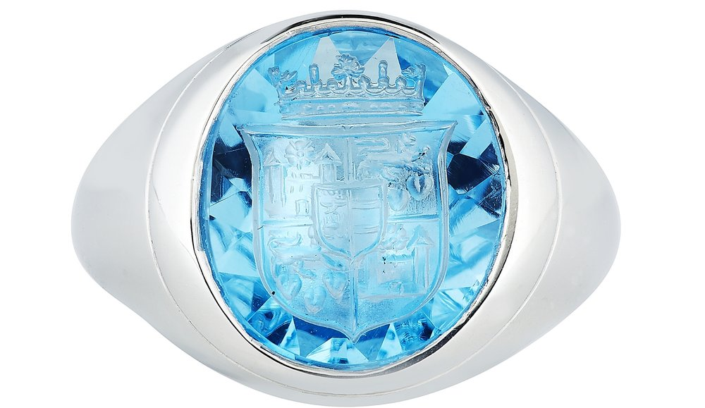 A platinum signet ring with the hand-engraved Royal Danish Coat of Arms from £7,750