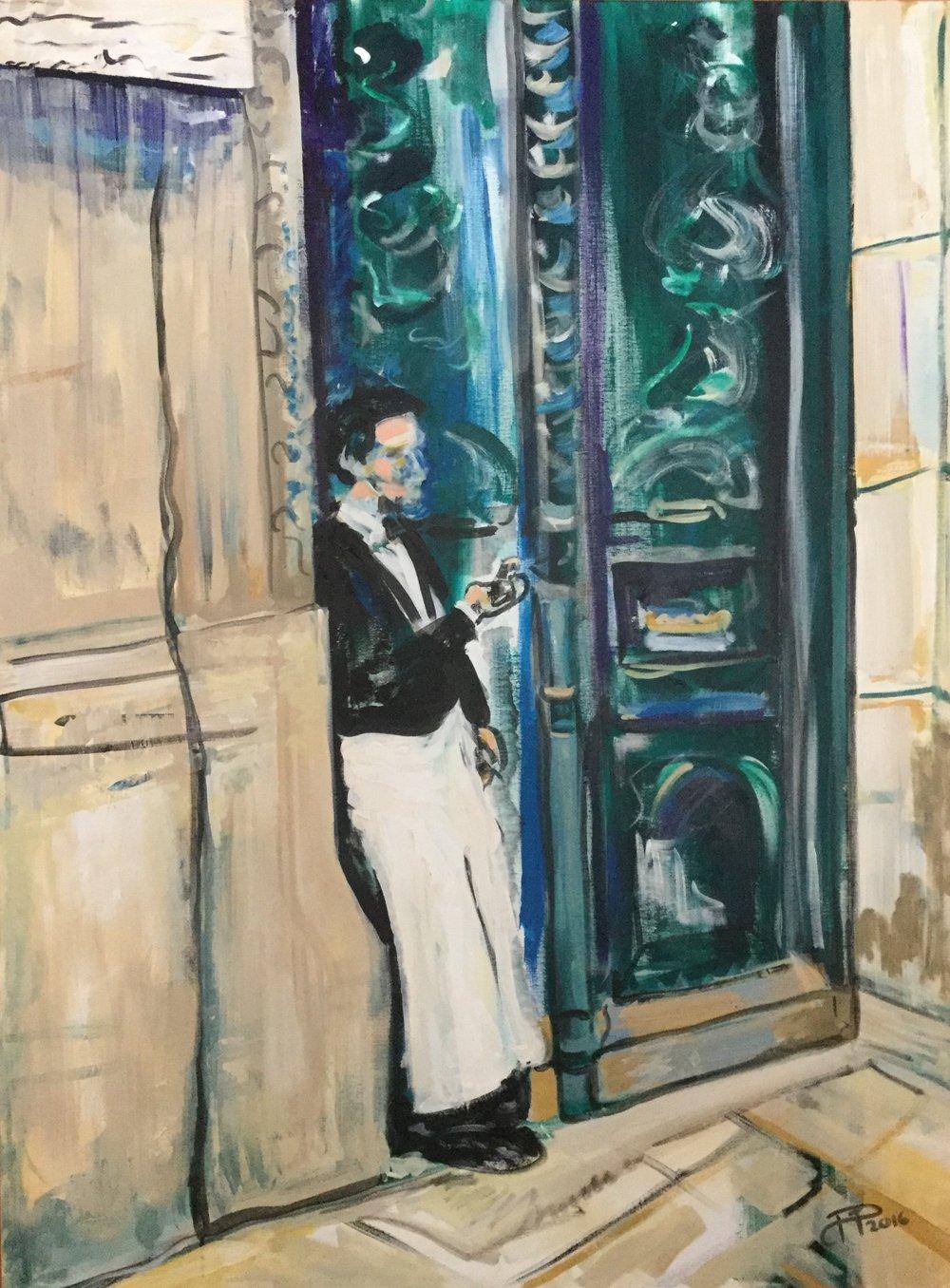 Parisian Waiter on Break