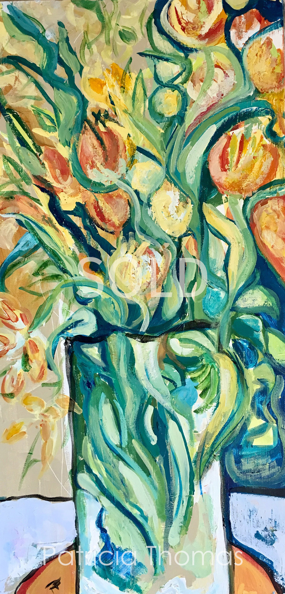 Yellow Tulips with Green Leaves (sold).jpg