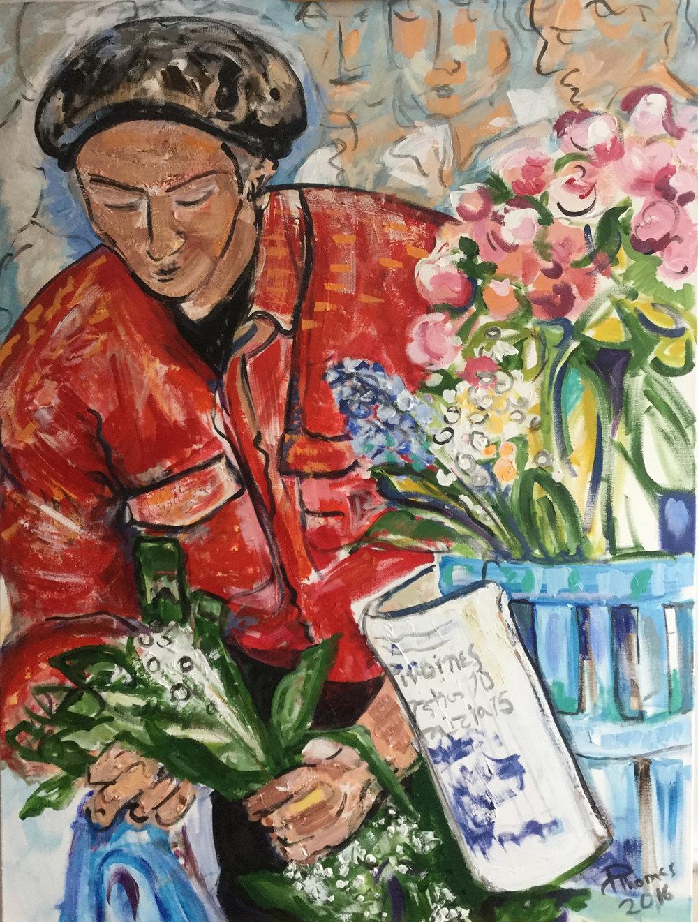 """Flower Seller in Paris  48 x 36"""""""