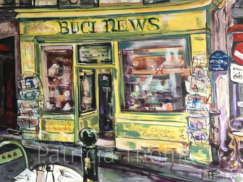 "View from Parisian Café: Buci News  30 x 40"""