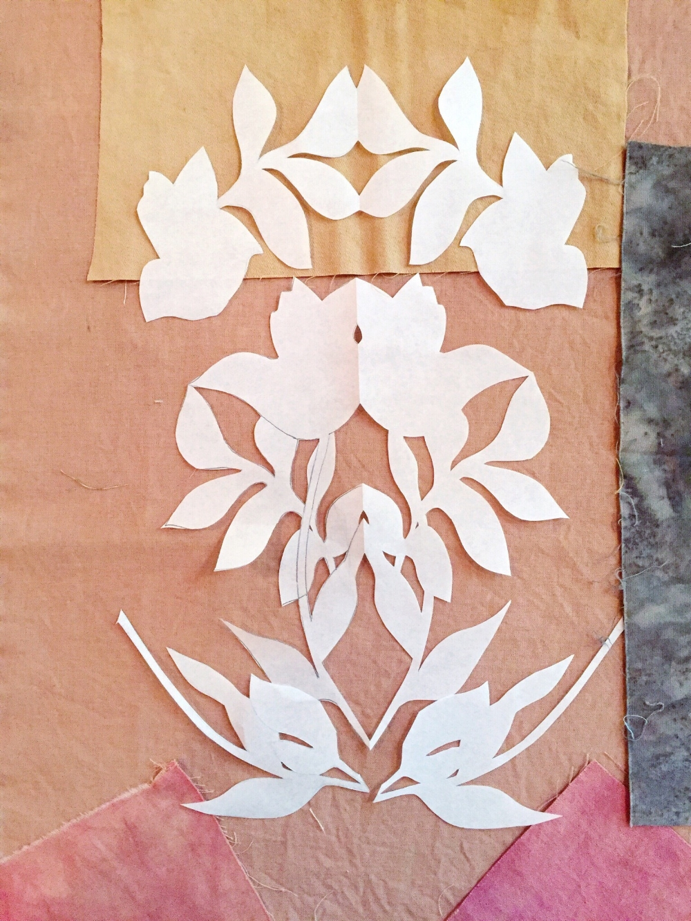 in process: paper-cuts transform into magical fabric compositions