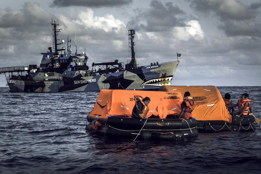 Bob Barker, ledet av kaptein Peter Hammarstedt, er navnet på skipet som tok opp jakten på Thunder. Skipet tilhører den militante miljøbevegelsen Sea Shepherd.Foto:Simon Ager