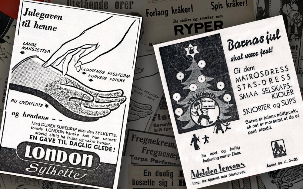Den briljante gaveidéen til venstre ble presentert i en annonse i Arbeiderbladet, 1957. Adelsten Jensen AS rykket på sin side inn annonsen som påsto at det morsomt at barna er pent kledd i samme avis, 1934)