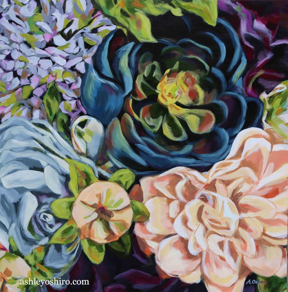 'Mysterious', Acrylic Painting of dark blue succulent flower