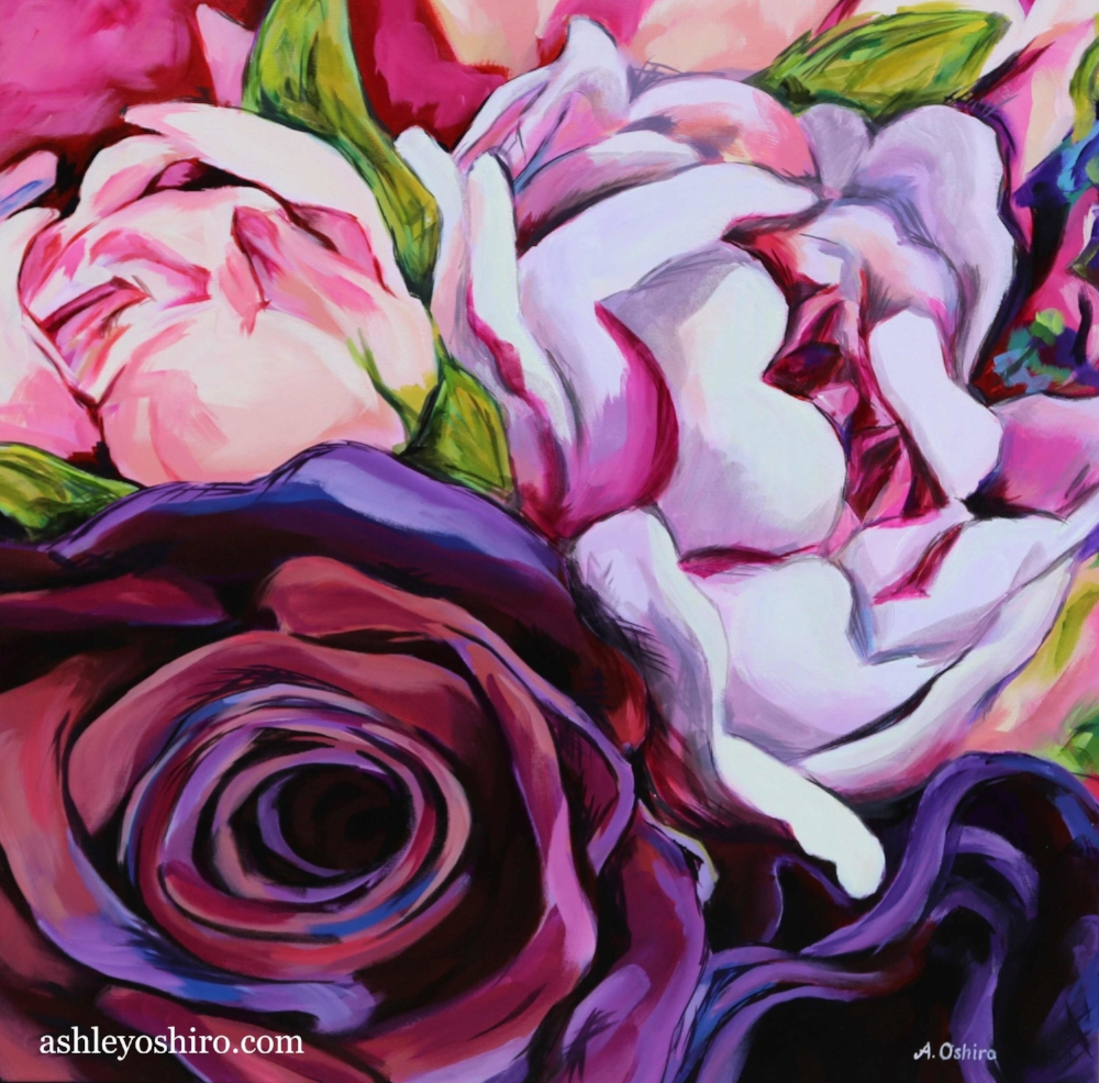 'Enchanted', Acrylic Painting of dark purple rose and two pink peony flowers close up, large scale loose brushstrokes, by Ashley Oshiro, Calgary, Alberta, Local Fine Artist, Original Art
