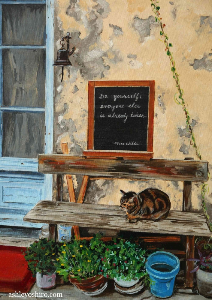 Afternoon Nap', Acrylic Painting of Cat sitting on bench against wall and door with chalkboard in Marseillan, France, by Ashley Oshiro, Calgary, Alberta, Local Fine Artist, Original Art