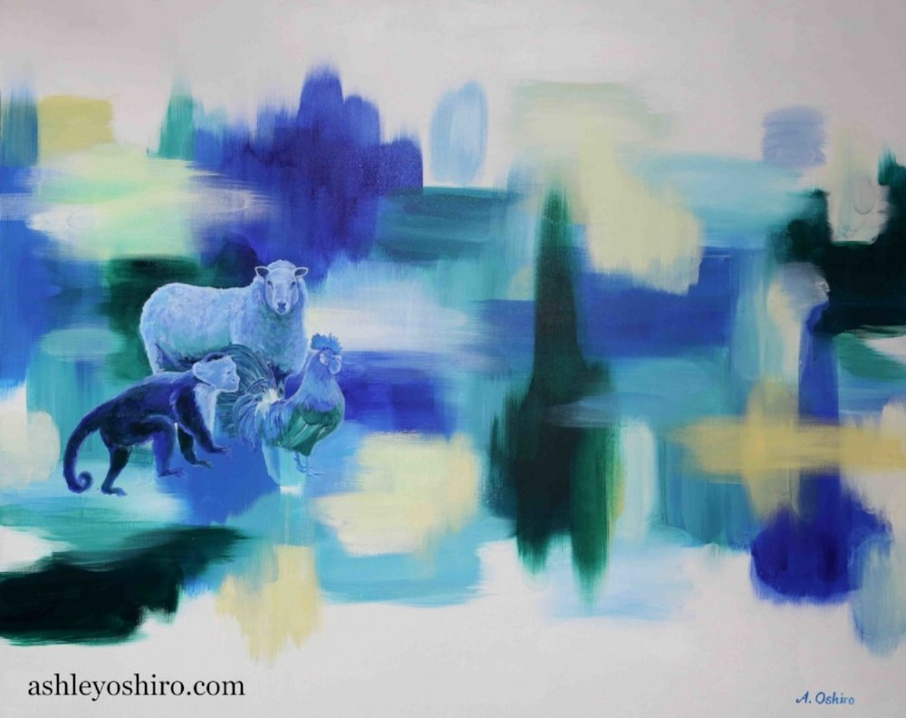 Acrylic Painting of sheep, monkey and rooster animals, blue green abstract background, customized family zodiac animals, by Ashley Oshiro, Calgary, Alberta, Local Fine Artist, Original Art