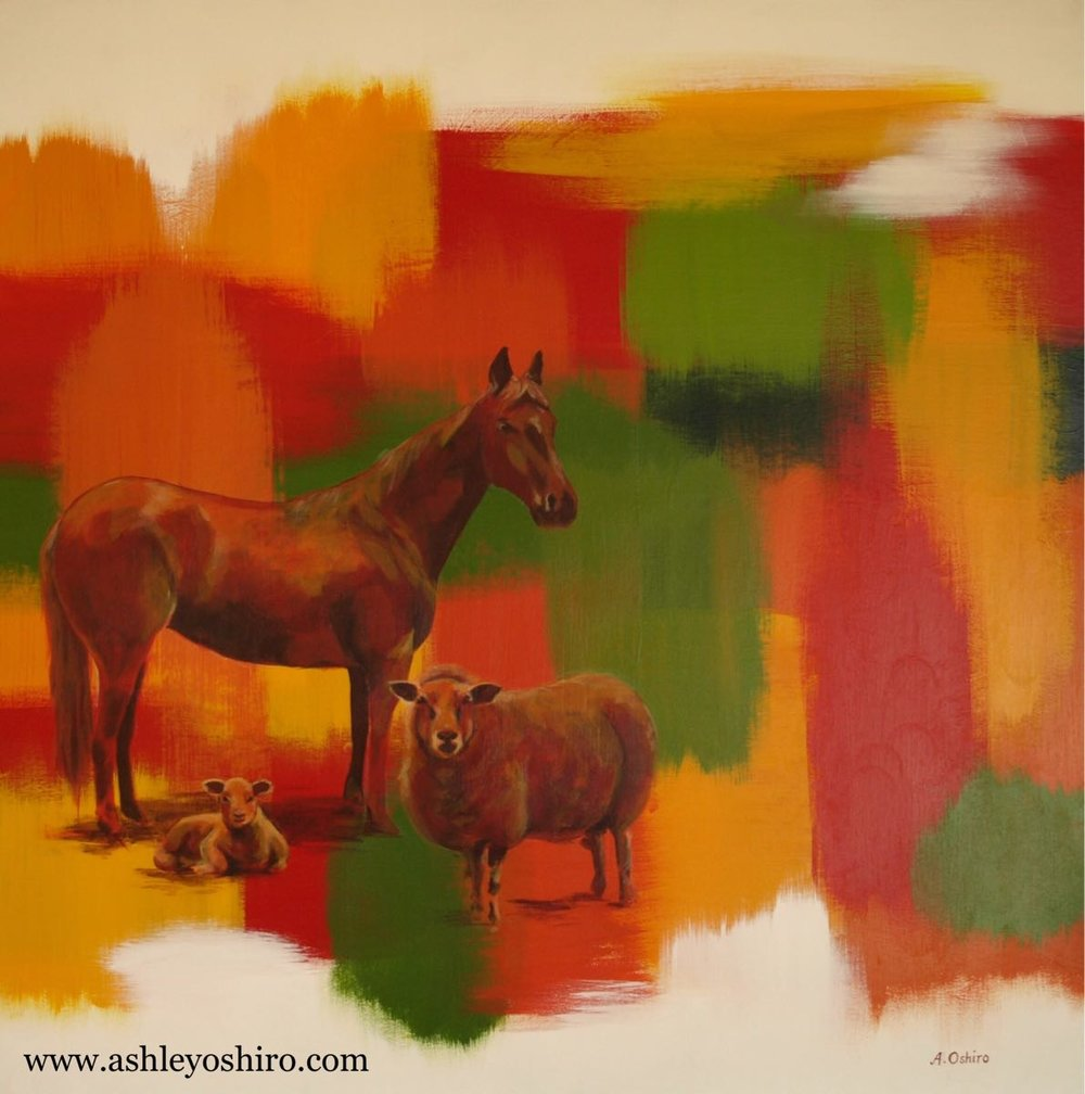 Acrylic Painting of horse, sheep, animals, red orange yellow green fall color abstract background, customized family zodiac animals, by Ashley Oshiro, Calgary, Alberta, Local Fine Artist, Original Art
