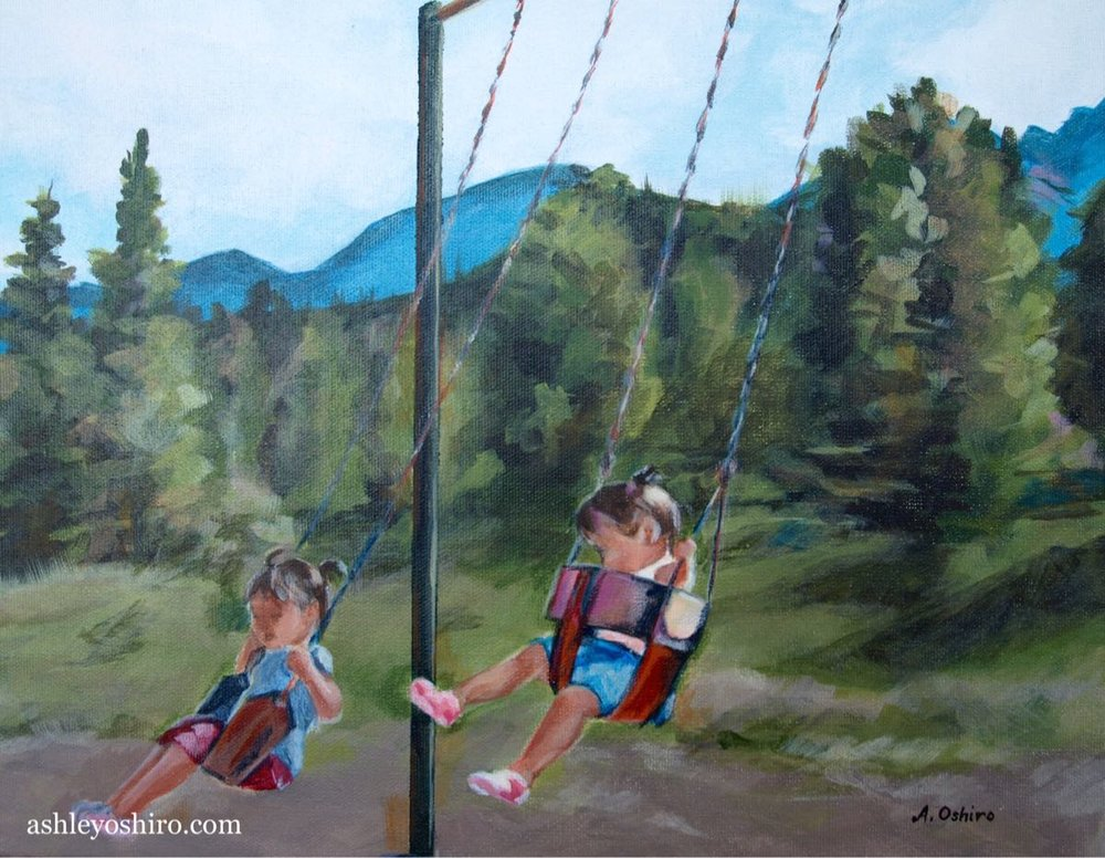 Higher', Acrylic Painting of two children on swings with trees and mountains in background by Ashley Oshiro, Calgary, Alberta, Local Fine Artist, Original Art