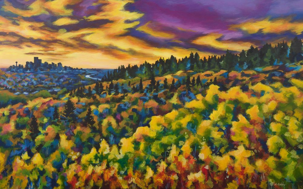 """Calgary Autumn"", Acrylic painting of fall landscape with Calgary downtown cityscape in background, fall coloured landscape, by Ashley Oshiro, Calgary, Alberta, Local Fine Artist, Original Art"