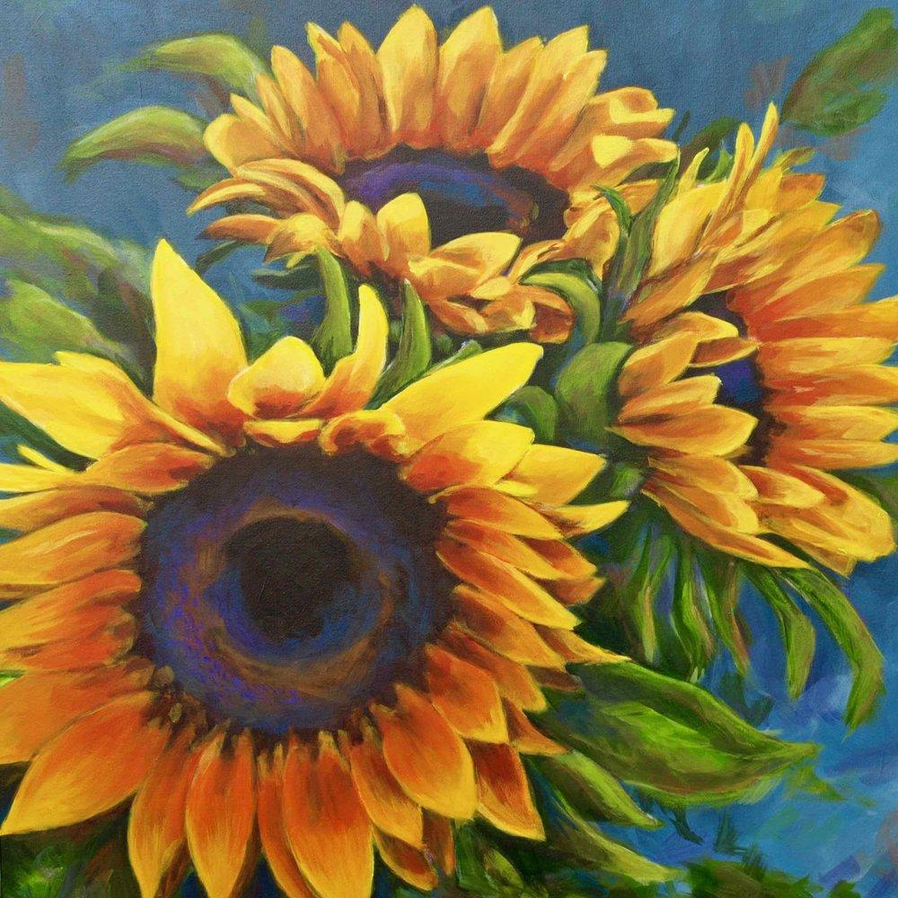 """D'Estate"", Acrylic Painting ofThree yellow sunflowers close up, large scale loose brushstrokes, by Ashley Oshiro, Calgary, Alberta, Local Fine Artist, Original Art"