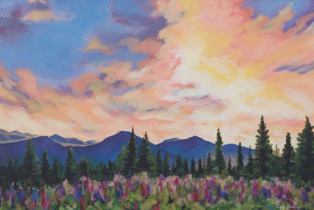 """Radiant Sky"", Acrylic Painting of Mountains, trees and purple lupine flowers against big sky with purple, orange and pink clouds, by Ashley Oshiro, Calgary, Alberta, Local Fine Artist, Original Art"