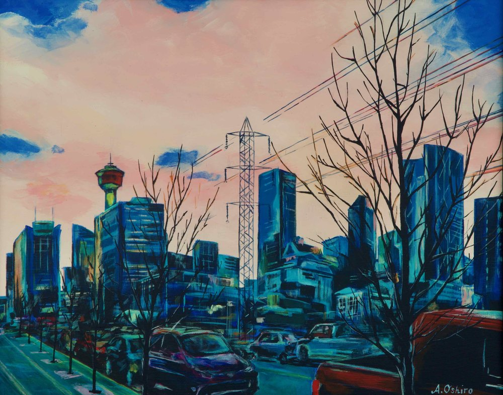 Acrylic Painting of Downtown Calgary Skyline with cars, trees and hazy pink sky includes Calgary Tower and the Bow, by Ashley Oshiro, Calgary, Alberta, Local Fine Artist, Original Art
