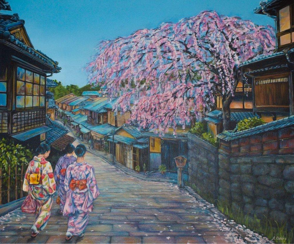 'Kyoto Street Scene', Acrylic Painting of three girls dressed in kimonos walking down Kyomizu Zakat Street, Kyoto, Japan, by Ashley Oshiro, Calgary, Alberta, Local Fine Artist, Original Art