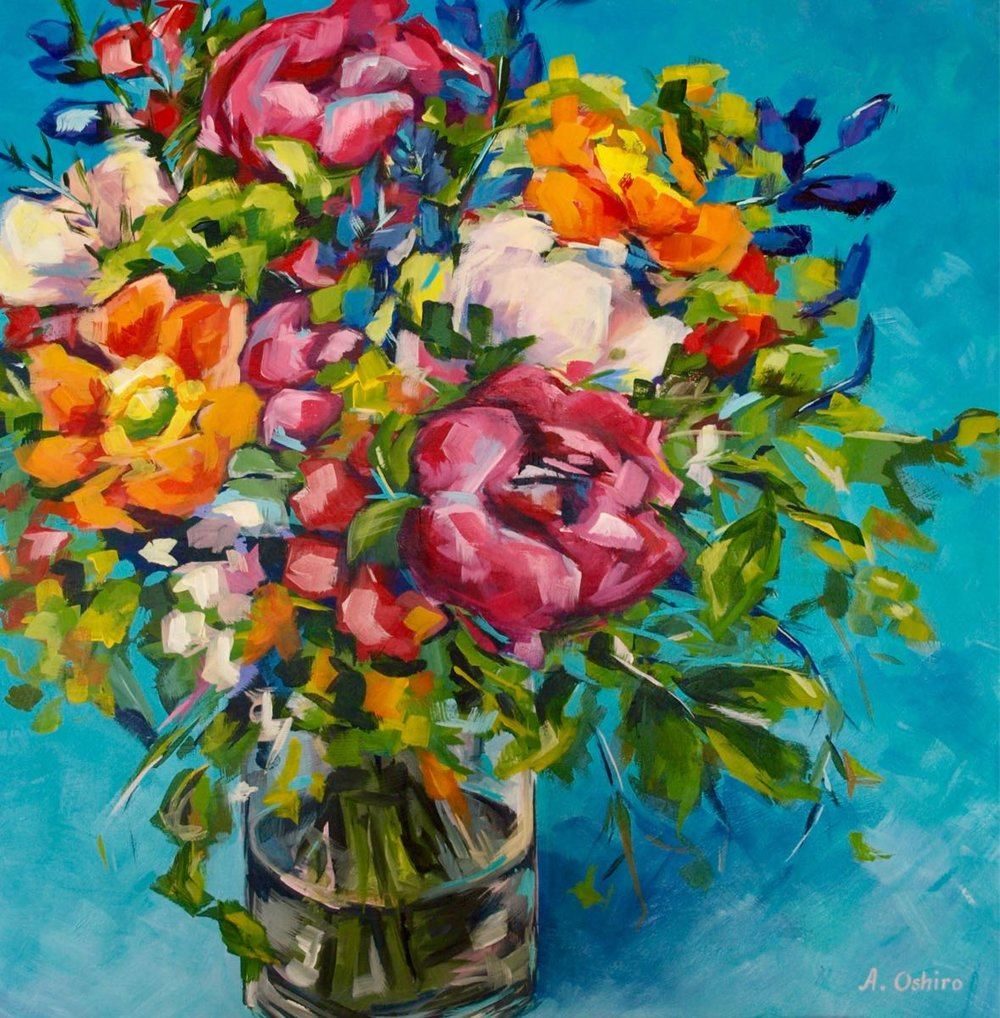 """'""""Bright'', Acrylic Painting of Vase of colourful fresh flowers with teal background, by Ashley Oshiro, Calgary, Alberta, Local Fine Artist, Original Art"""