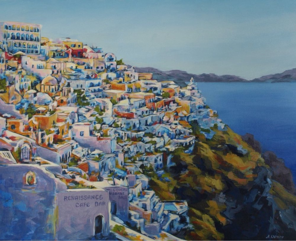 "'""Rejuvenated"", Acrylic Painting of Town of Fira, Santorini, Greece, by Ashley Oshiro, Calgary, Alberta, Local Fine Artist, Original Art"